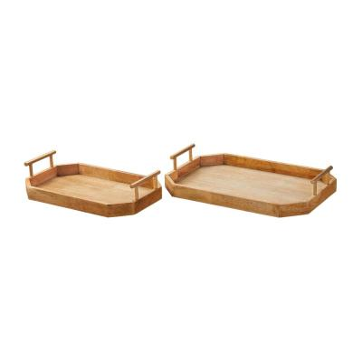 Home Decorators Collection Natural Wood Decorative Octagonal Tray (Set of 2)