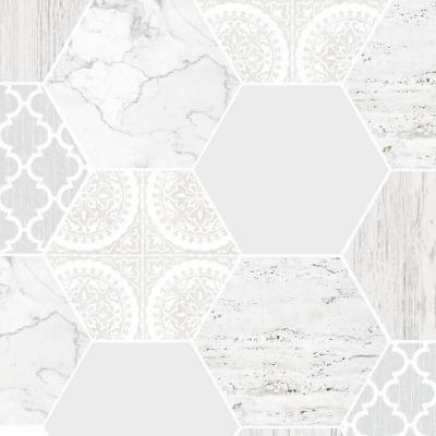 Hexagonal Marble Gray and White Removable Wallpaper Sample