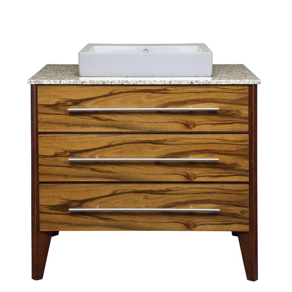 DECOLAV Mila 37 in. W x 22 in. D x 36.38 in. H Vanity with Vanity Top and Lavatory in Black Lima and Mahogany