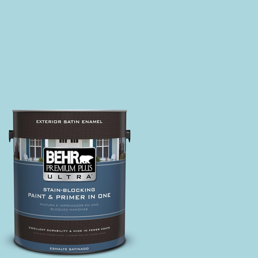 BEHR Premium Plus Ultra 1-gal. #520C-3 Rapture Blue Satin Enamel Exterior Paint