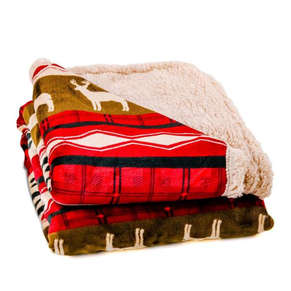 Red Minky Sherpa Ultra-Plush Holiday Throw Blanket (BLN4688)