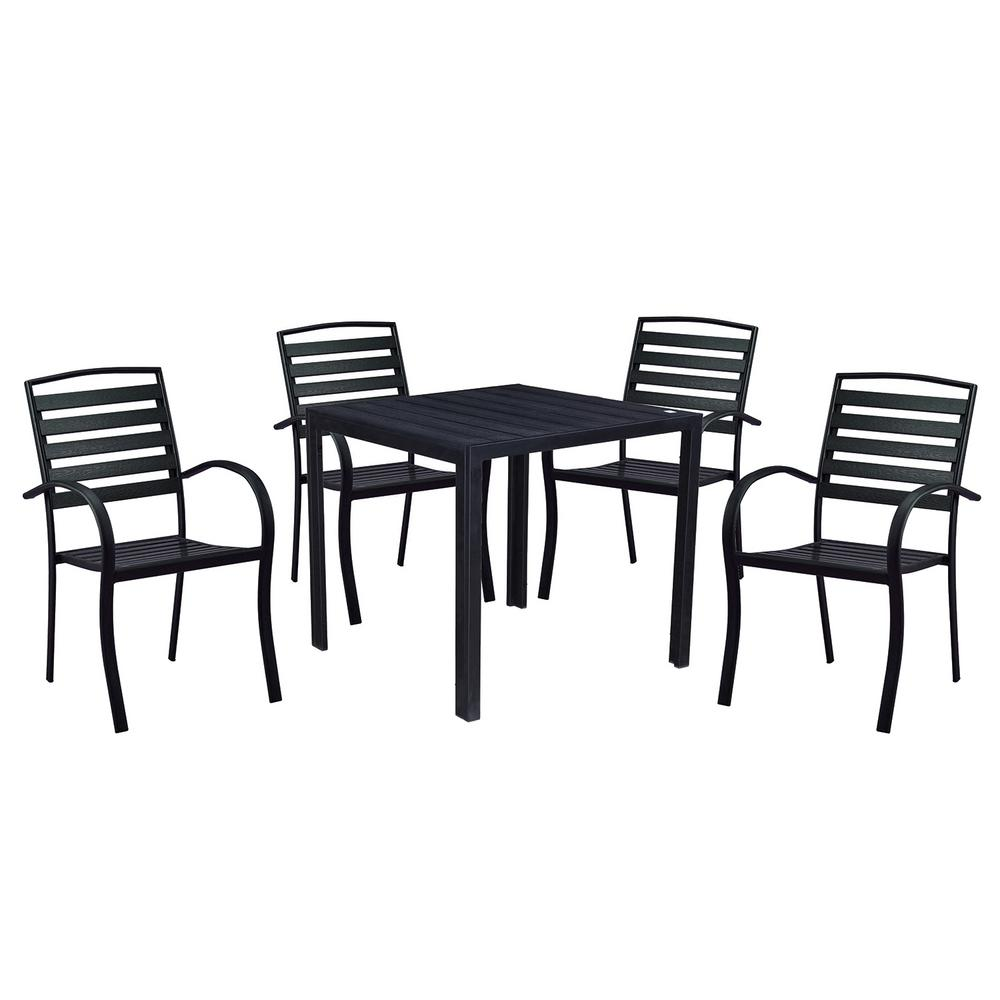 5 Piece Dining Set Wood Metal Frame Table And 4 Chairs: Modern Contemporary 5-Piece Black Metal Square Outdoor