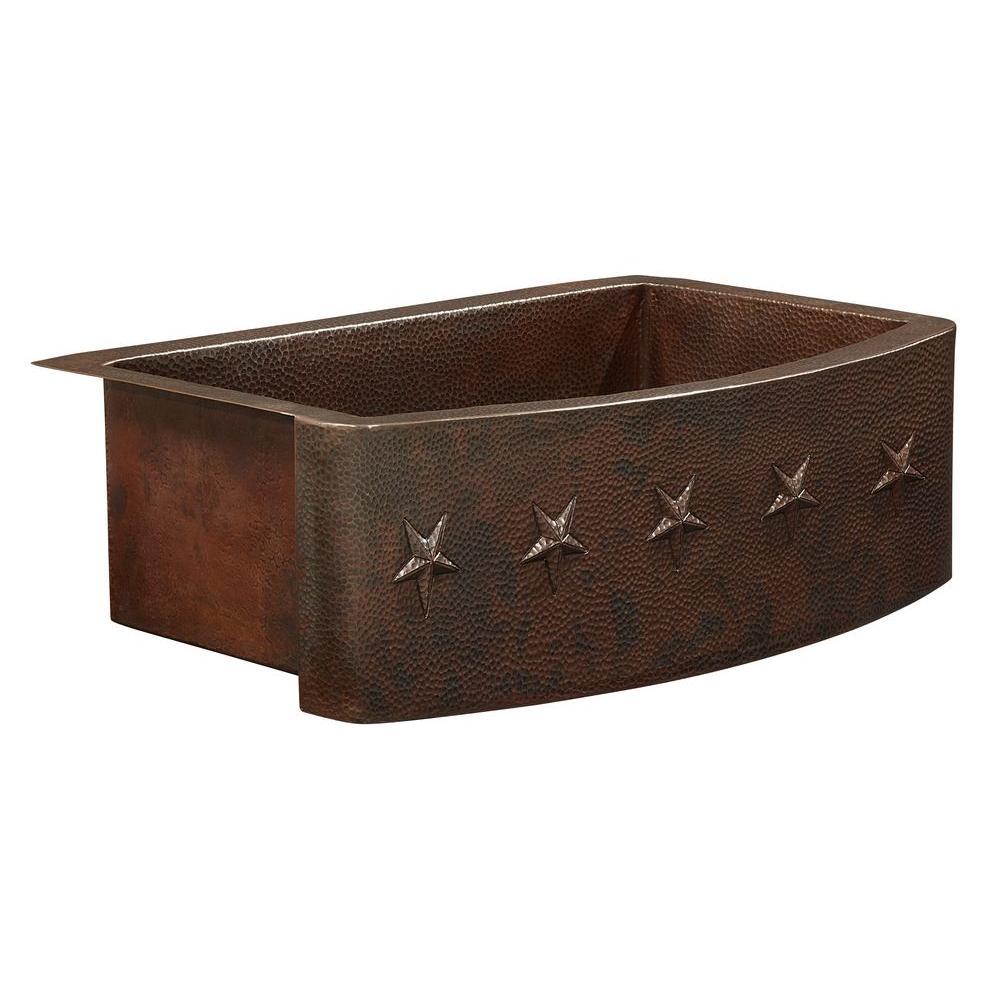 Donatello Farmhouse Apron Front Copper Sink 25 in. Single Bowl Copper Kitchen Sink Bow Front Star Design