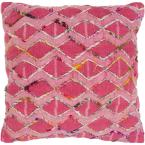 Kalyan Purple Geometric Polyester 20 in. x 20 in. Throw Pillow