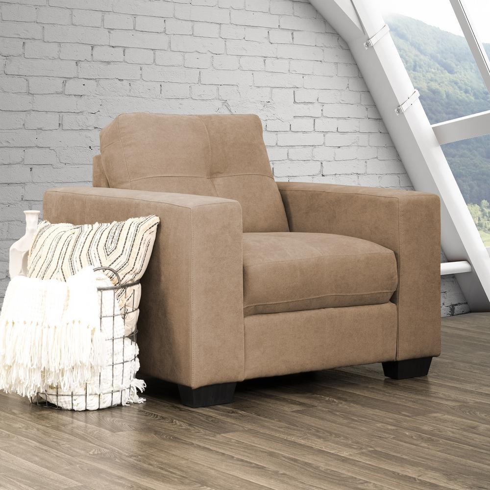 Club Tufted Brown Chenille Fabric Armchair