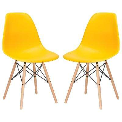 Vortex Yellow Side Chair with Natural Legs (Set of 2)