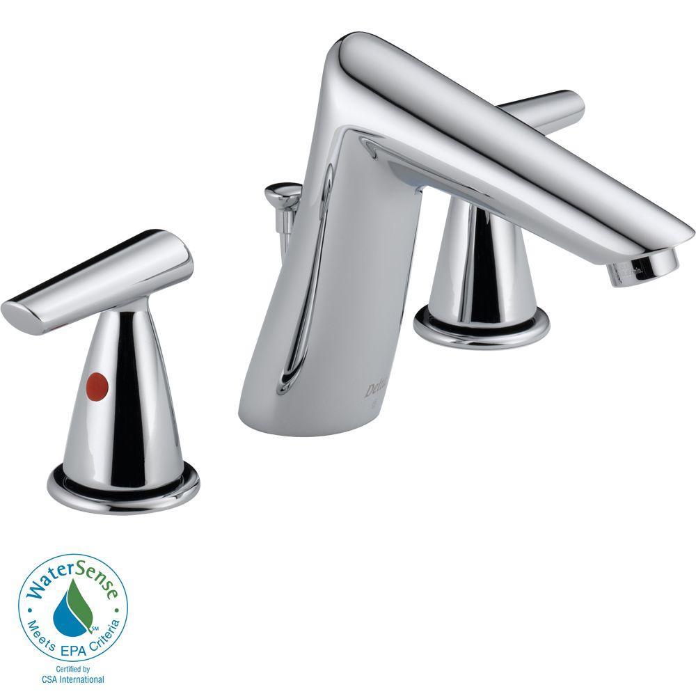 Delta Rizu 8 in. Widespread 2-Handle High-Arc Bathroom Faucet in Chrome-DISCONTINUED