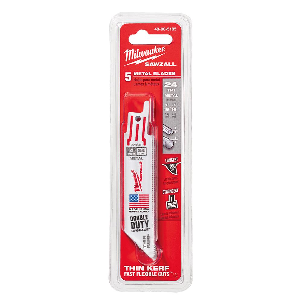 Milwaukee 4 in. 24 Teeth per in. Thin Kerf Metal Reciprocating Saw Blade(5-Pack)