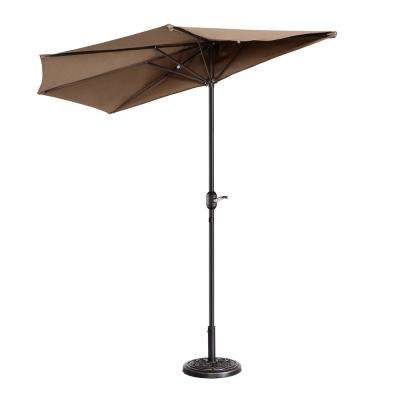 9 ft. Steel Market Half Patio Umbrella in Brown