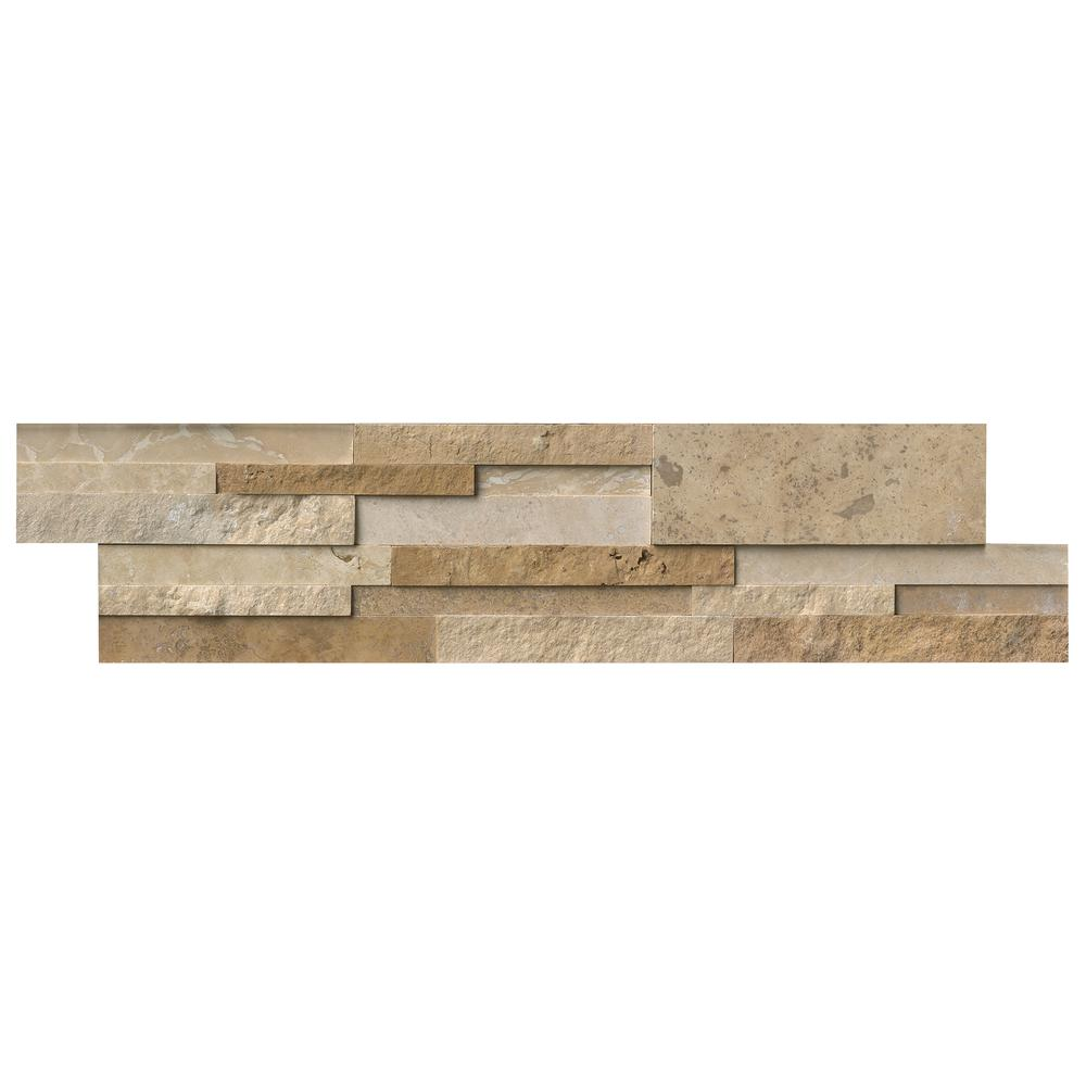 MSI Casa Blend 3D Ledger Panel 6 in. x 24 in. Multi Finish Natural Quartzite Wall Tile (10 cases / 80 sq. ft. / pallet)