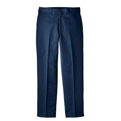 Regular Fit 33 in. x 32 in. Polyester Flat Front Comfort Waist Multi-Use Pocket Pant Dark Blue