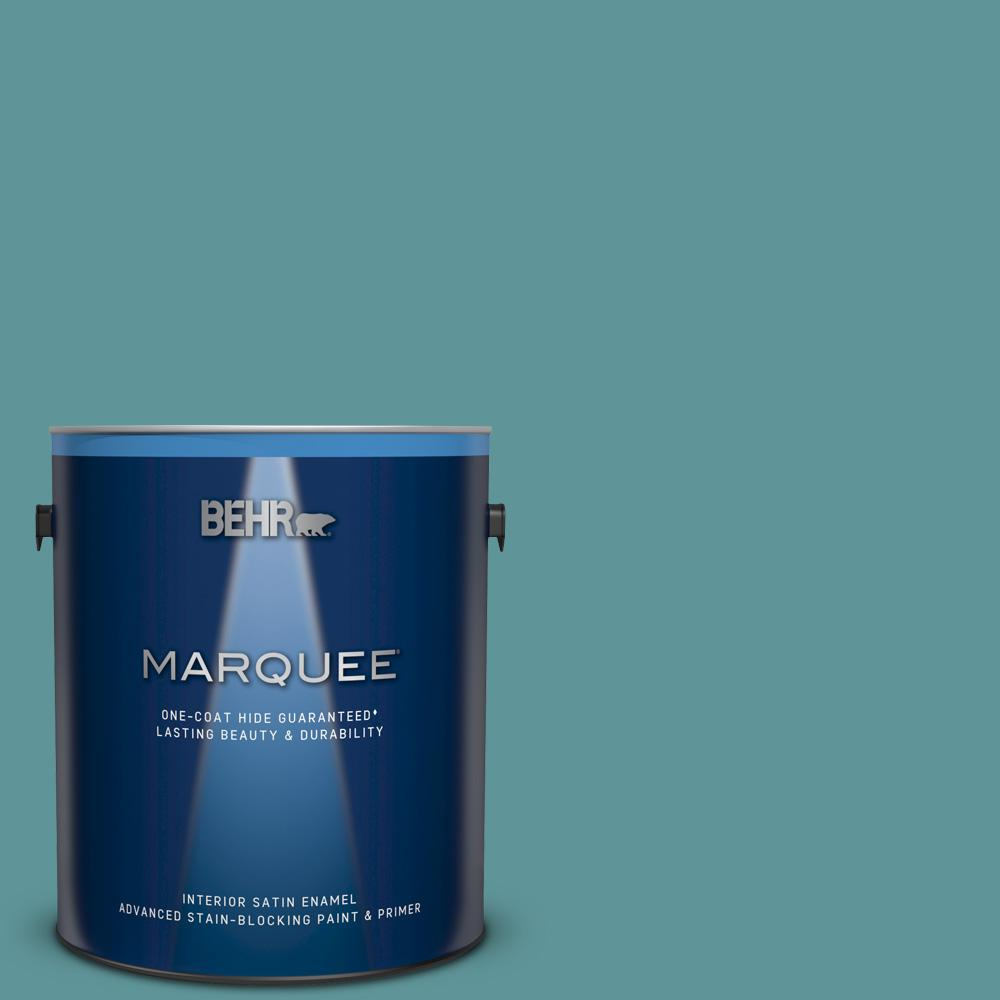 Mq6 33 Vintage Teal One Coat Hide Satin Enamel Interior Paint And Primer In