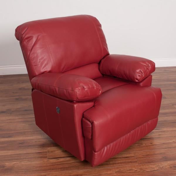 CorLiving Lea Red Bonded Leather Power Recliner with USB Port LZY-352-R