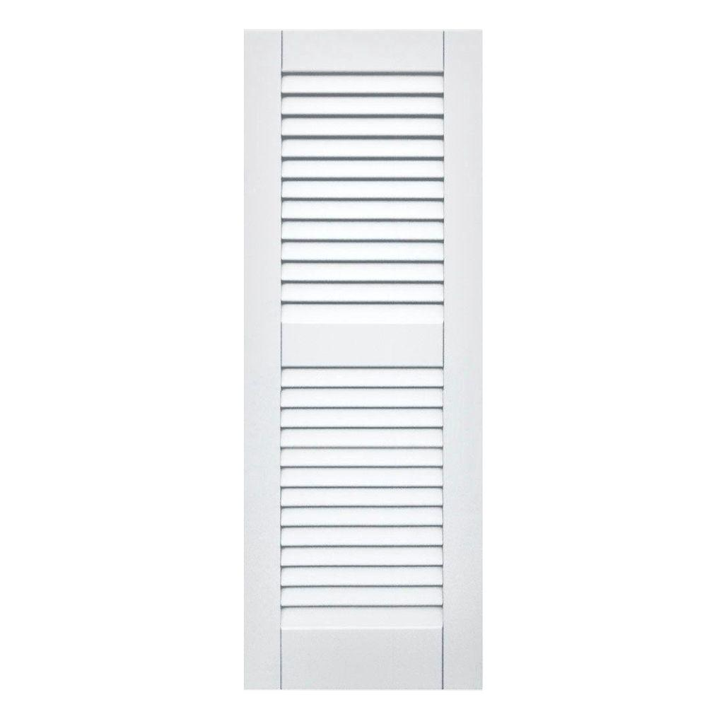 Winworks Wood Composite 15 in. x 41 in. Louvered Shutters Pair #631 White