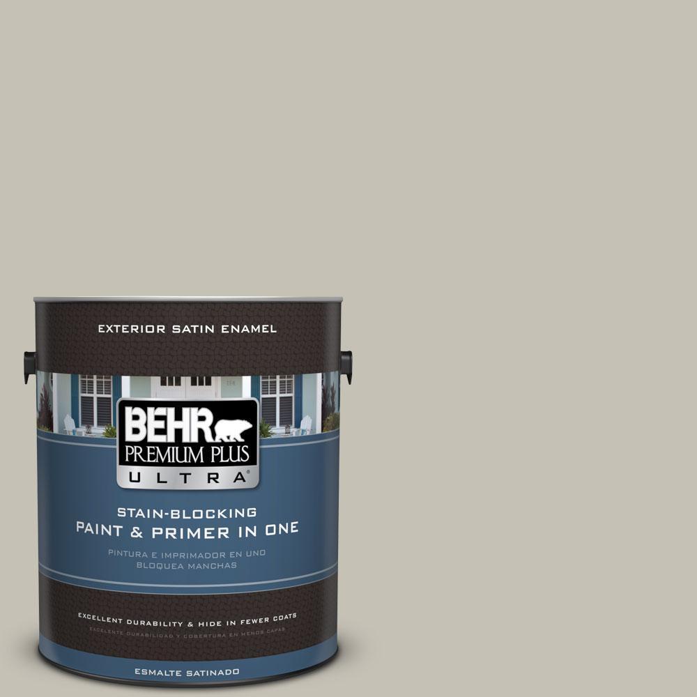 BEHR Premium Plus Ultra 1-gal. #BNC-04 Comforting Gray Satin Enamel Exterior Paint