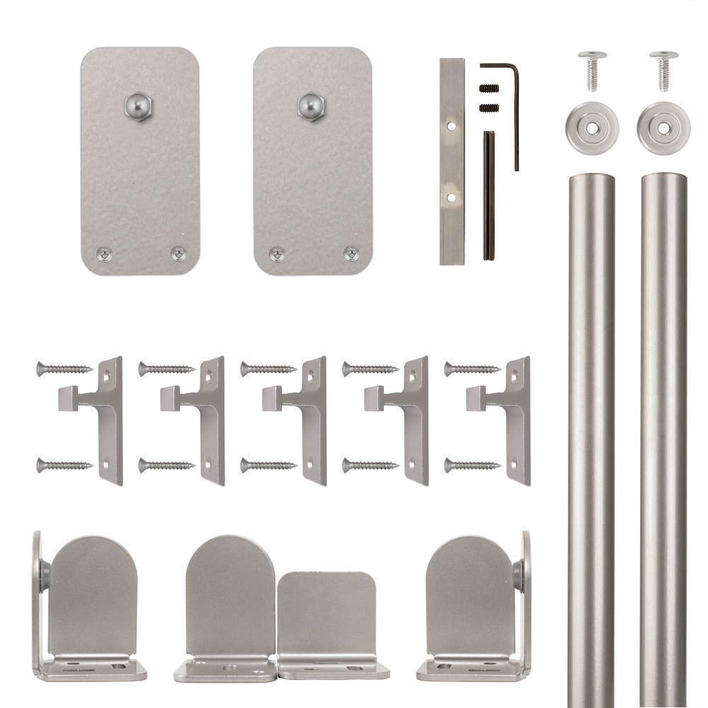 Basic Rectangle Satin Nickel Rolling Door Hardware Kit for 3/4 in. to 1-1/2 in. Door