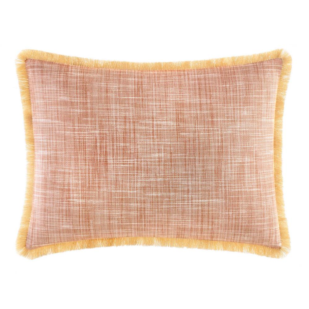 Sunrise Stripe Burnt Coral 12 in. x 16 in. Throw Pillow, Red Turn your bedroom into a tropical paradise with the Sunrise Stripe Burnt Coral Throw Pillow by Tommy Bahama. The bright coral heathered weave pillow features fringed trim on all four sizes of the pillow. Pair this pillow with the rest of the Sunrise Stripe Collection to further elevate your bedding ensemble. Pillow (12 in. x 16 in.).