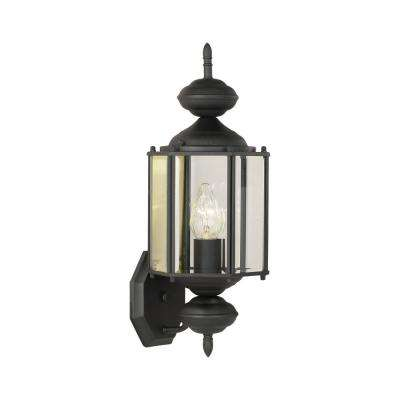 Brentwood 1-Light Black Outdoor Wall Mount Lantern with Removable Tail Extension