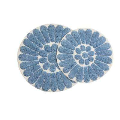 Bursting Flower 24 in. x 24 in. and 30 in. x 30 in. Round 2-Piece Bath Rug Set in Off White/Blue