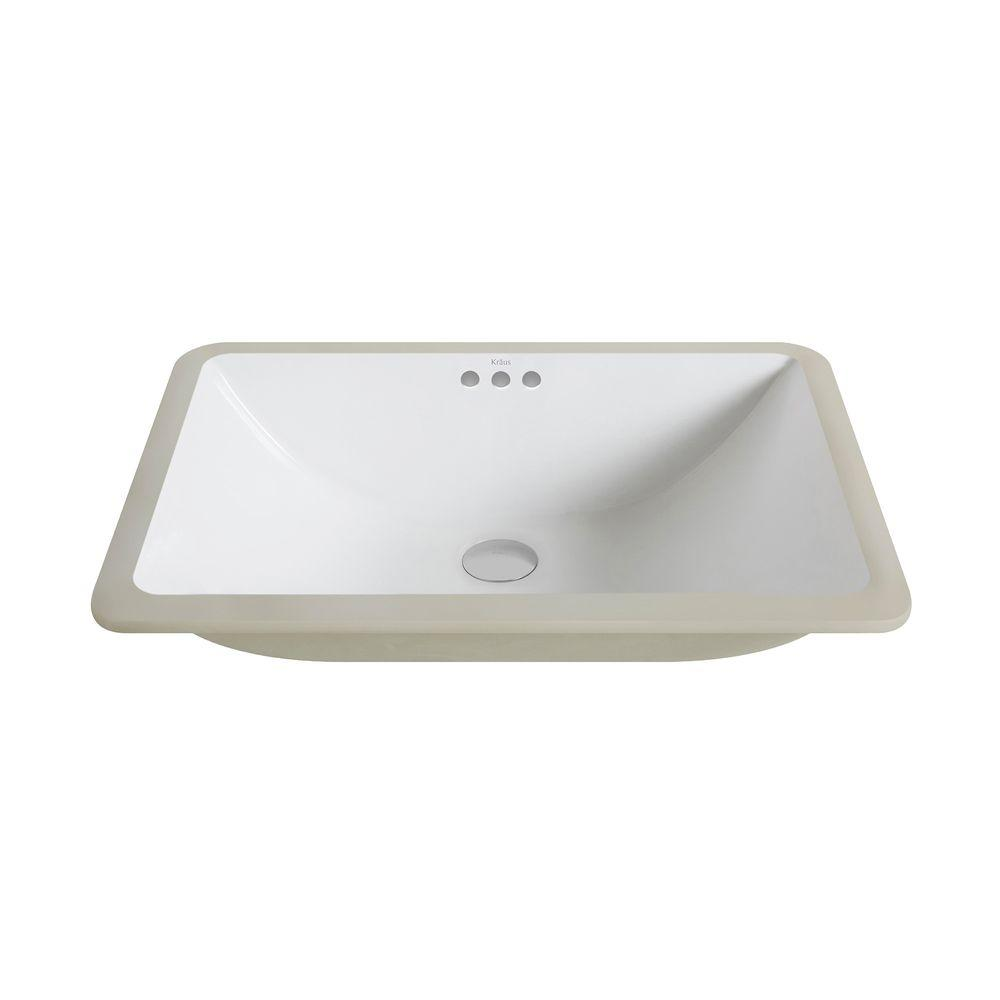 Elavo Large Rectangular Ceramic Undermount Bathroom Sink in White with Overflow