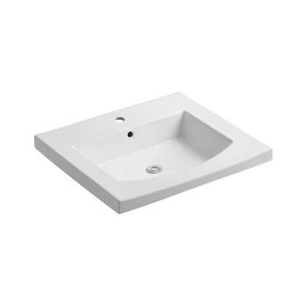 KOHLER Persuade 25-1/4 in. Vitreous China Vanity Top in White with Basin