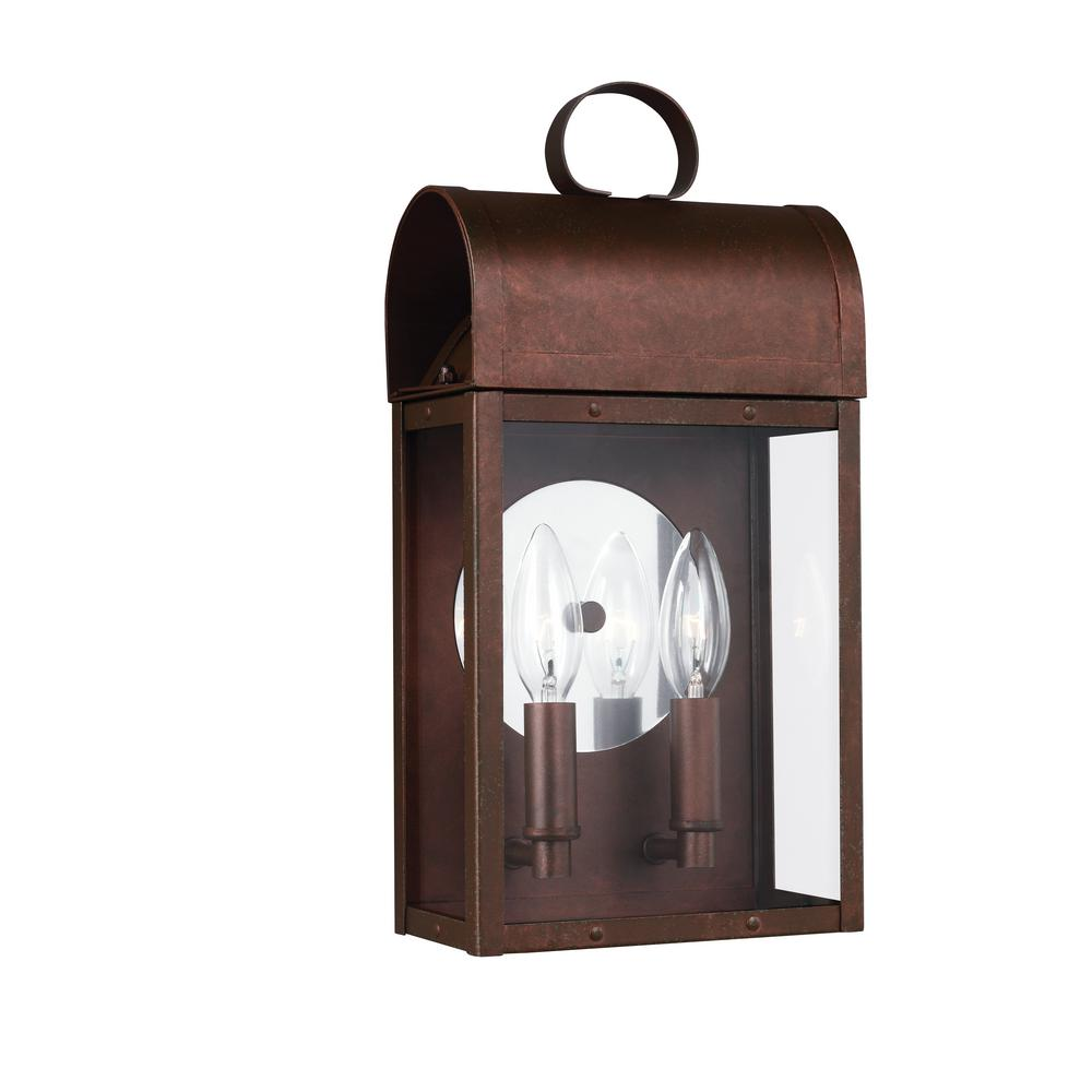 Conroe 2-Light Weathered Copper Outdoor Wall Mount Lantern