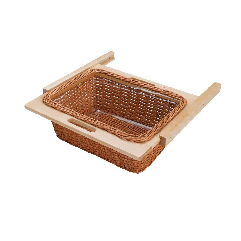 Rev-A-Shelf 22 in. Rattan Basket with Euro Rails and Clear Plastic Liner-DISCONTINUED