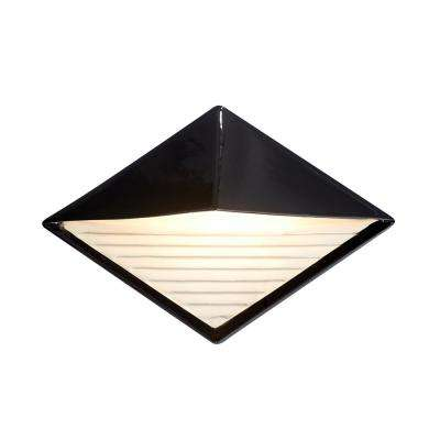 Ambiance Diamond Gloss Black with Matte White Internal Outdoor Integrated LED Sconce