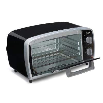 1000 W 4-Slice Black Toaster Oven with Broiling Rack Insert