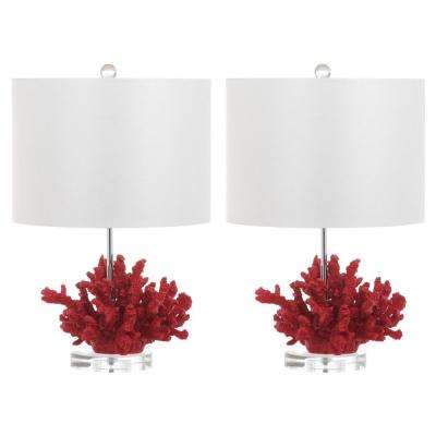 Coral Reef 21.25 in. Red Table Lamp (Set of 2)