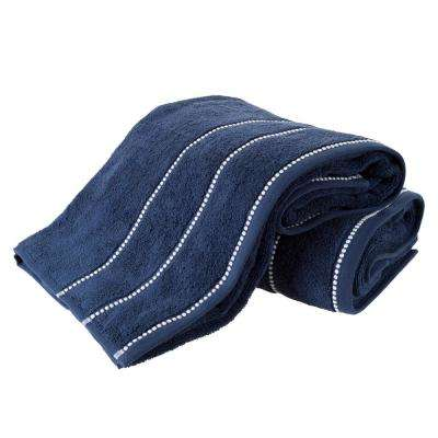 100% Zero Twist Cotton Bath Sheet Set in Navy and White (2-Piece)