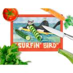 Caroline's Treasures Black and white Cat Surfin Bird Tempered Glass Large Cutting Board