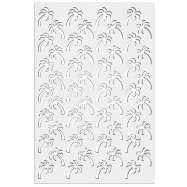 Palm Tree 32 in. x 4 ft. White Vinyl Decorative Screen Panel