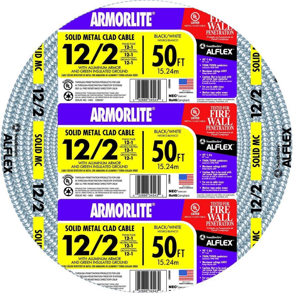Southwire 12/2 x 50 ft. Solid CU MC (Metal Clad) Armorlite Cable