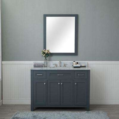 Norwalk 48 in. W x 22 in. D Vanity in Gray with Marble Vanity Top in White with White Basin and Mirror
