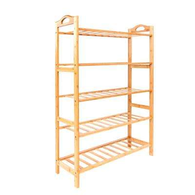 15-Pair Wood Color 5-Layer Portable Bamboo Splint Shoe Rack