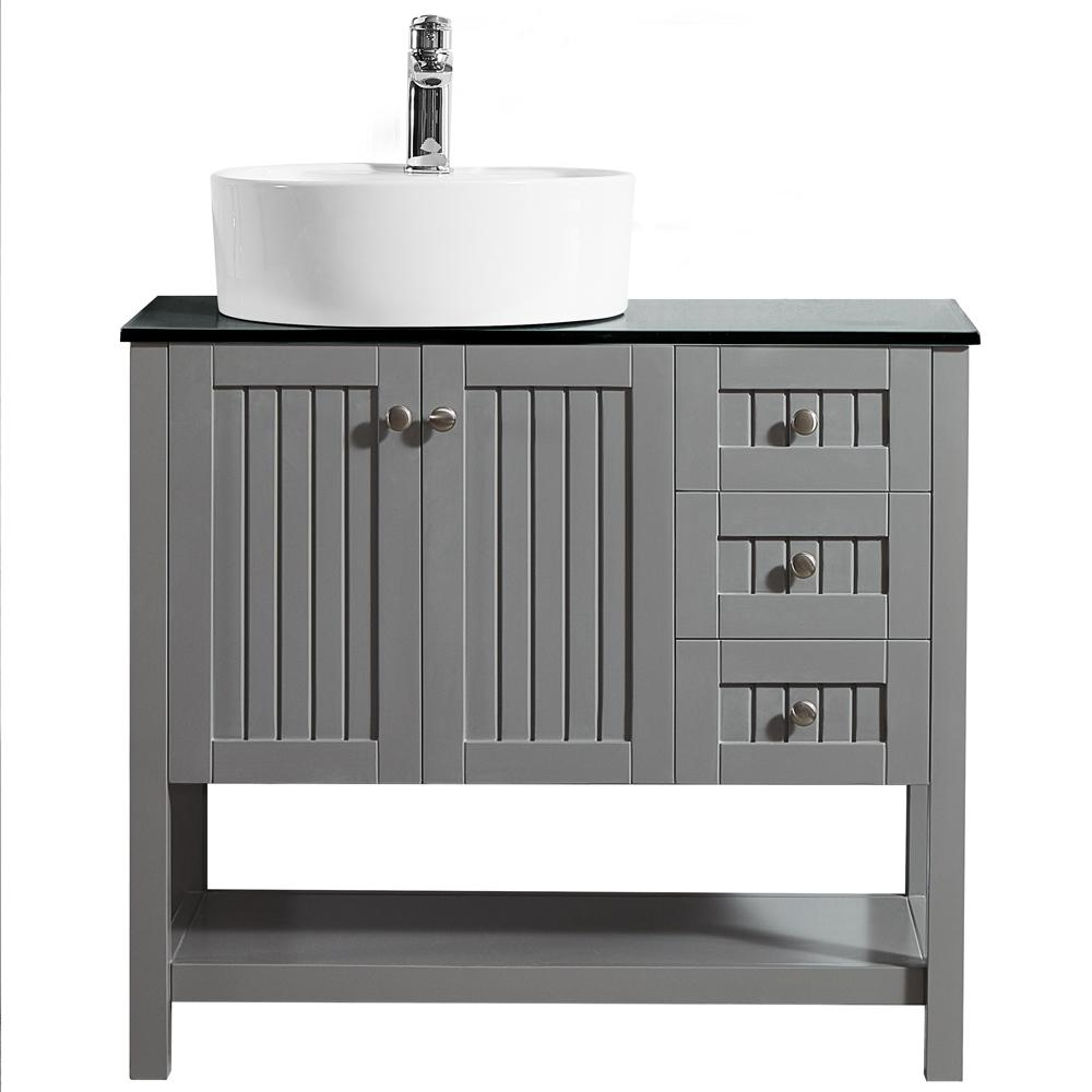 ROSWELL Modena 36 in. W x 18 in. D Vanity in Grey with Glass Vanity Top in Black with White Basin