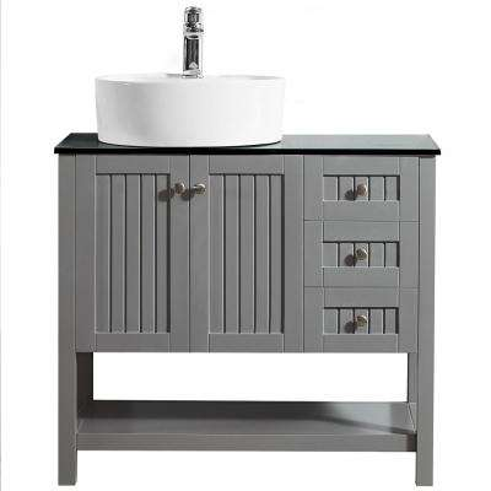 Modena 36 in. W x 18 in. D Vanity in Grey with Glass Vanity Top in Black with White Basin