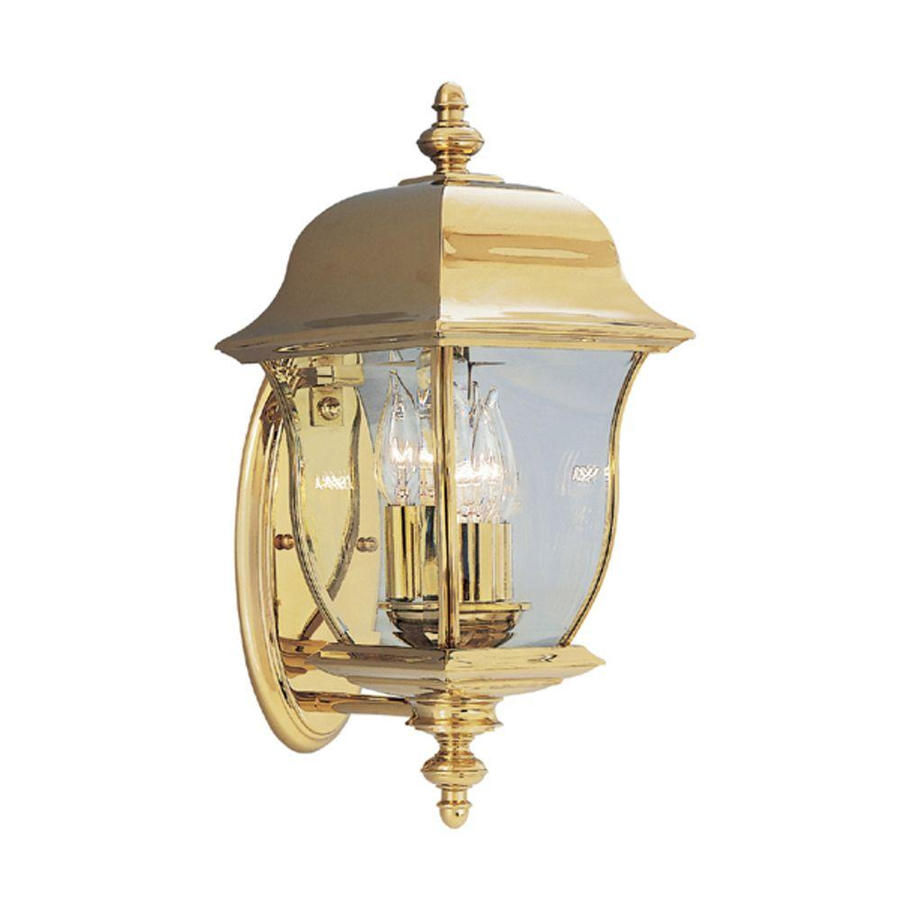 Designers Fountain Oak Harbor 3 Light Polished Brass Outdoor Wall Mount Lantern 1542 Pvd Pb