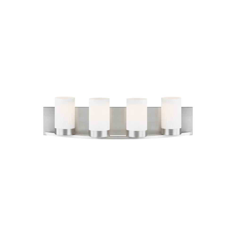 LBL Lighting Granada 24 in. W 4-Light Satin Nickel Contemporary Bathroom Vanity Light with Frosted White Cylinder Shades
