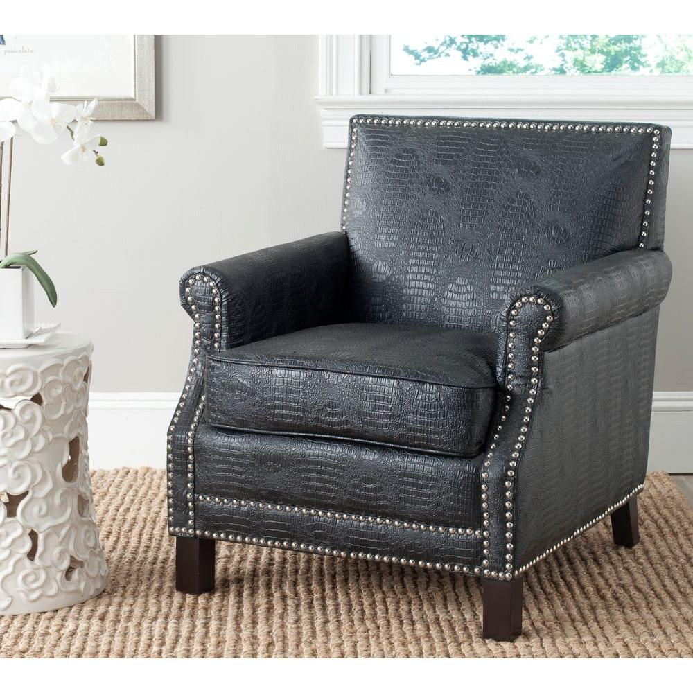 Admirable Safavieh Easton Black Crocodile Espresso Bicast Leather Club Interior Design Ideas Gentotryabchikinfo