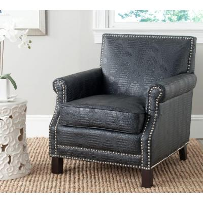 Easton Black Crocodile/Espresso Bicast Leather Club Arm Chair
