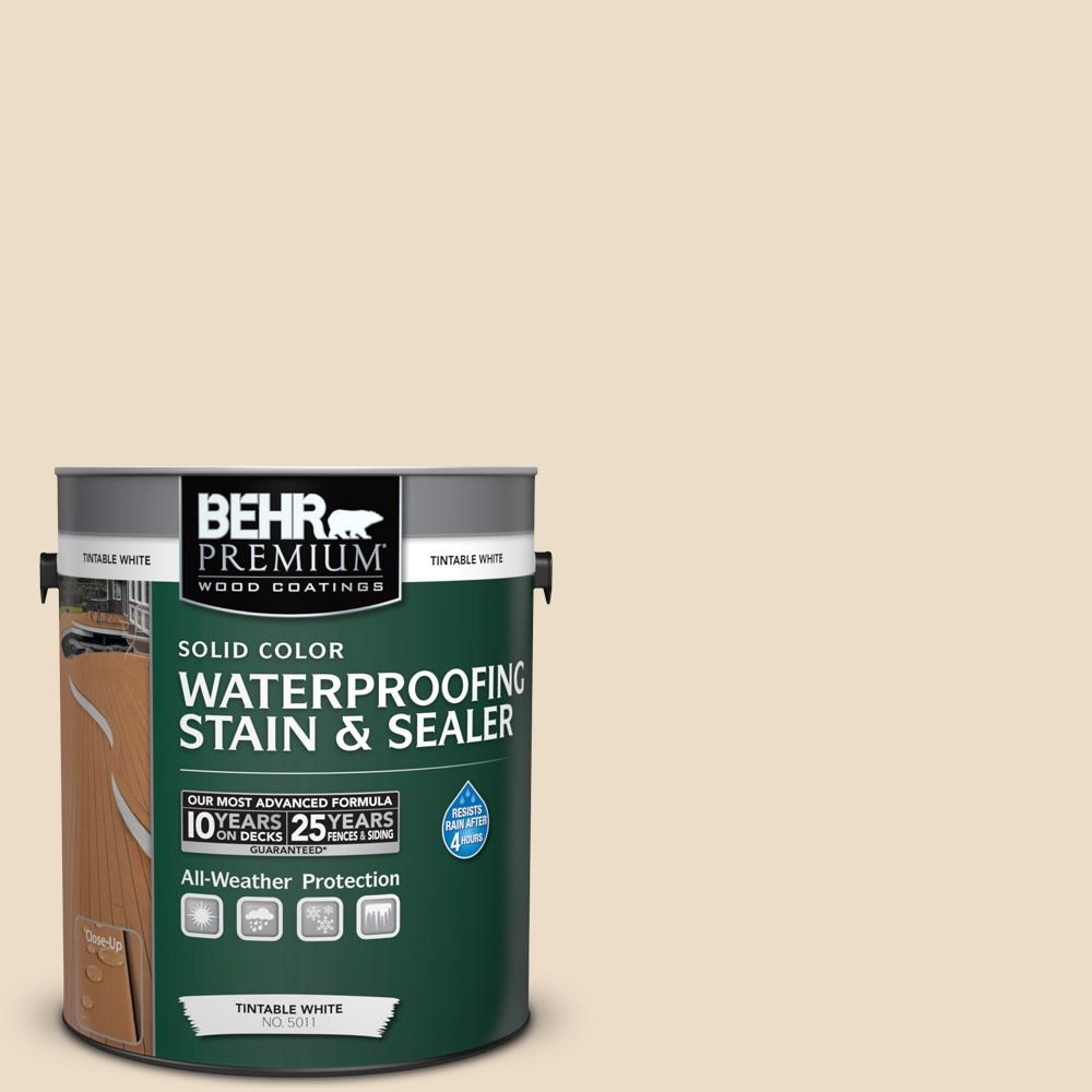 BEHR Premium 1 gal  #710C-2 Raffia Cream Solid Color Waterproofing Exterior  Wood Stain and Sealer