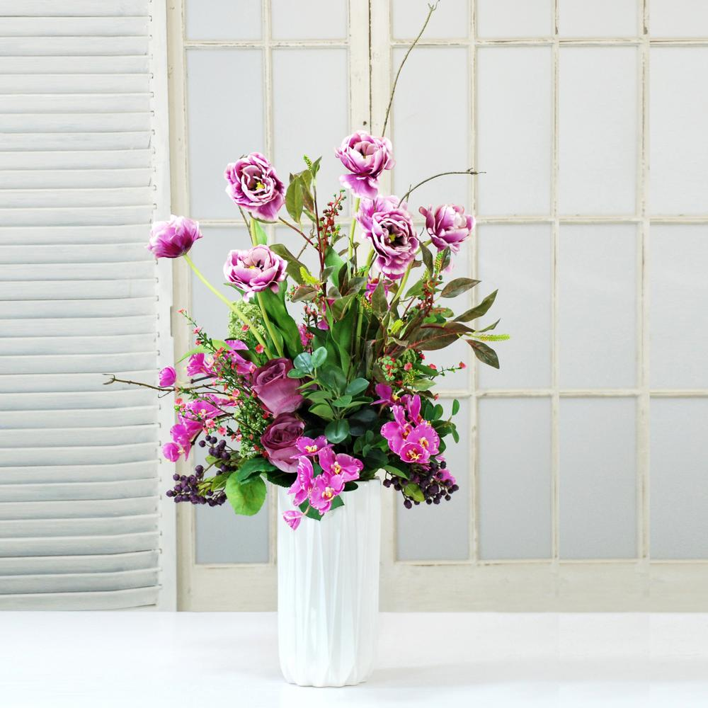Rose And Tulip Deluxe 34 In Tall Centerpiece Pink Flowers Adp159 Pu The Home Depot