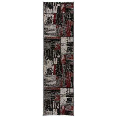 """Contemporary Distressed Geometric Boxes Design Area Rug 2' x 7' 2"""" Red"""