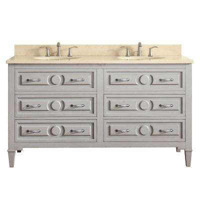 Kelly 61 in. W x 22 in. D x 35 in. H Vanity in Taupe Glaze with Marble Vanity Top in Galala Beige with White Basin