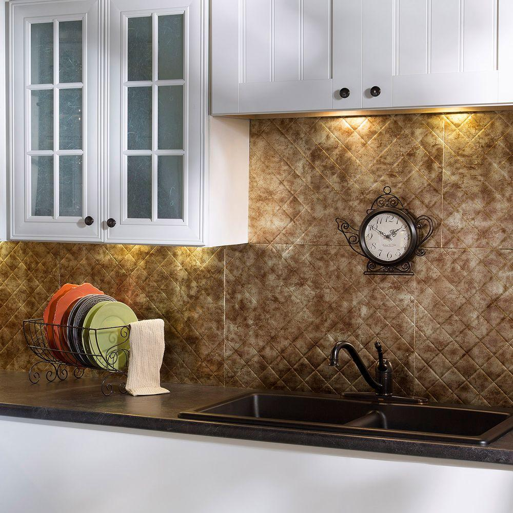 Fasade 24 in. x 18 in. Quilted PVC Decorative Backsplash Panel in Bermuda Bronze