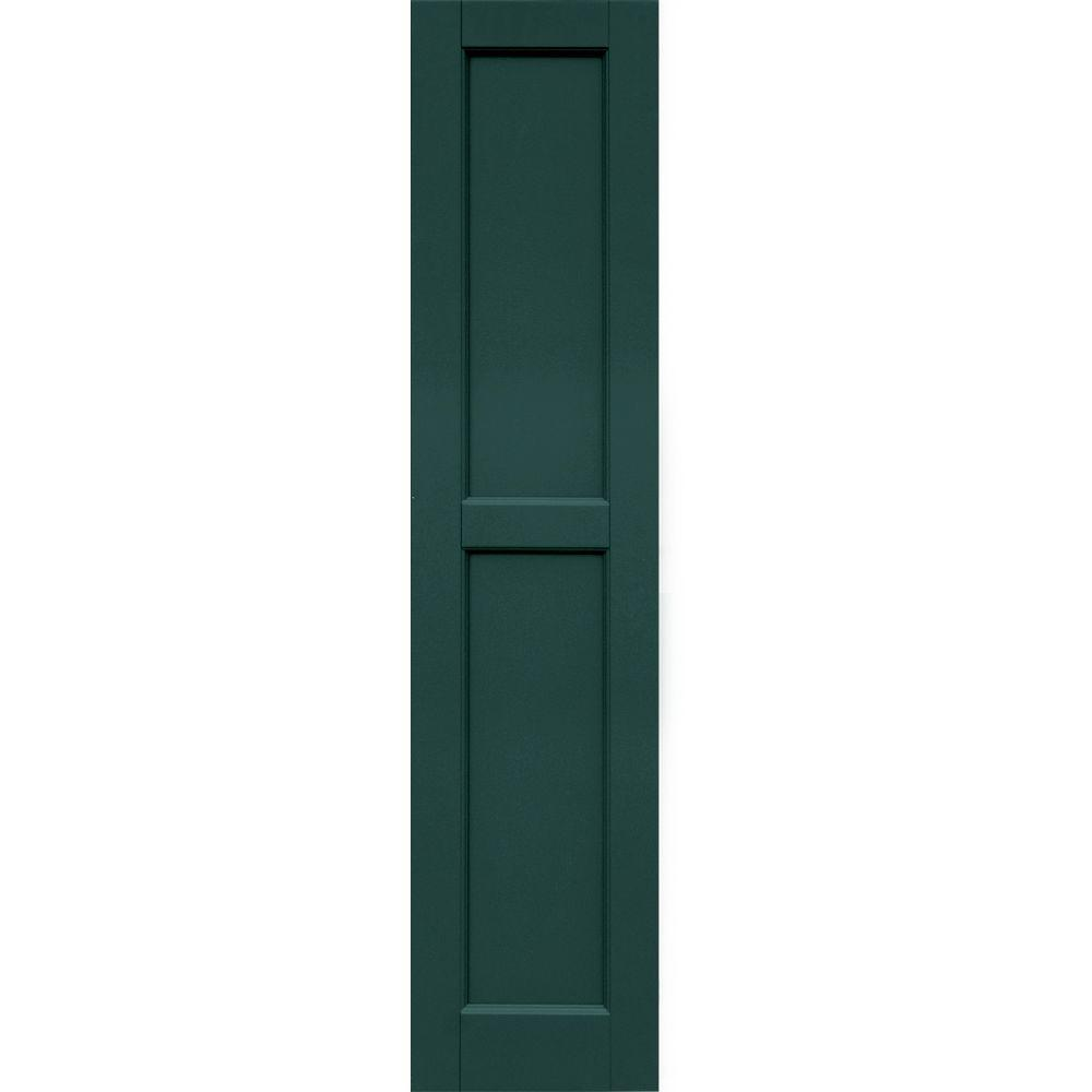 Winworks Wood Composite 12 in. x 53 in. Contemporary Flat Panel Shutters Pair #633 Forest Green