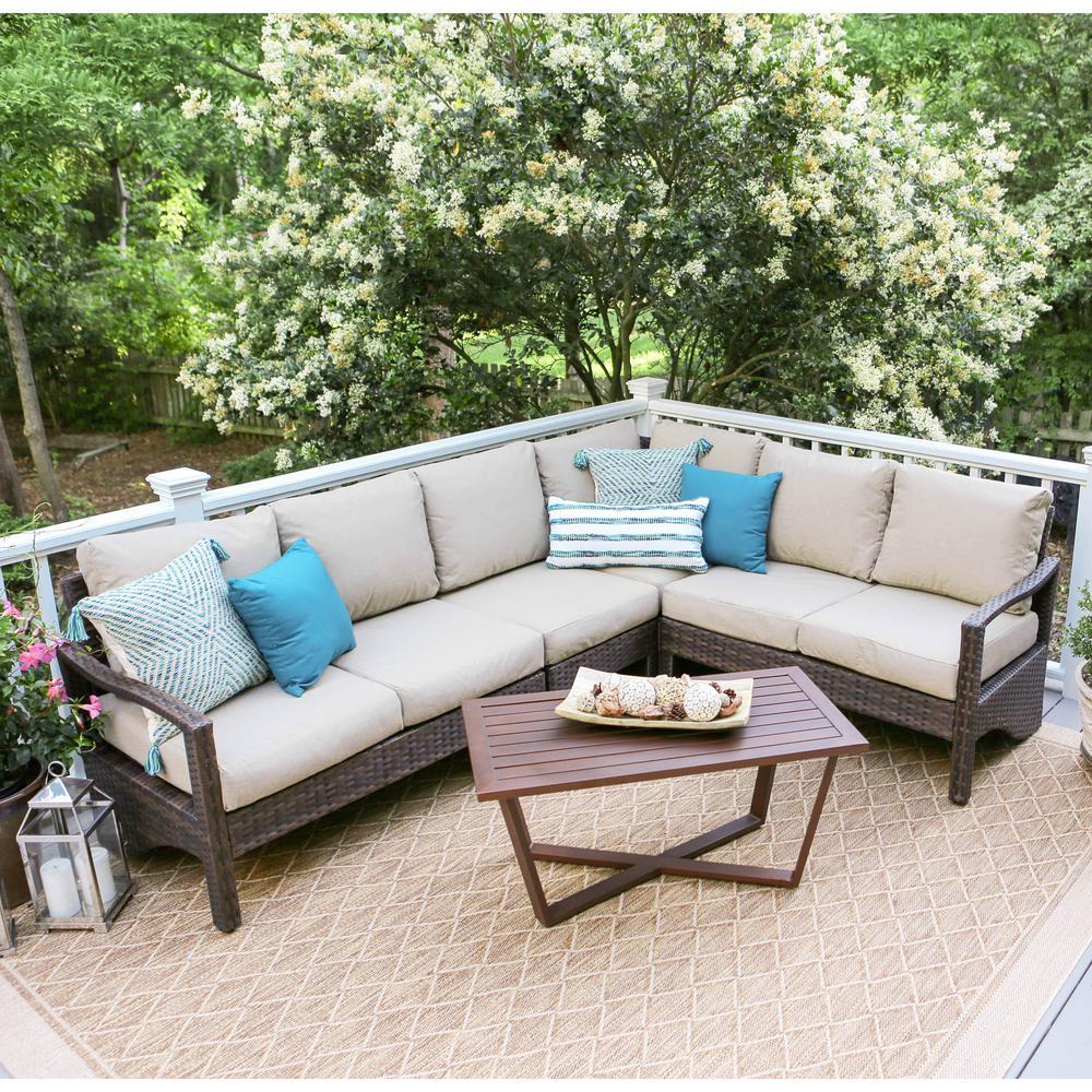 Augusta 5-Piece Wicker Patio Corner Sectional with Sunbrella Cast Ash Cushions