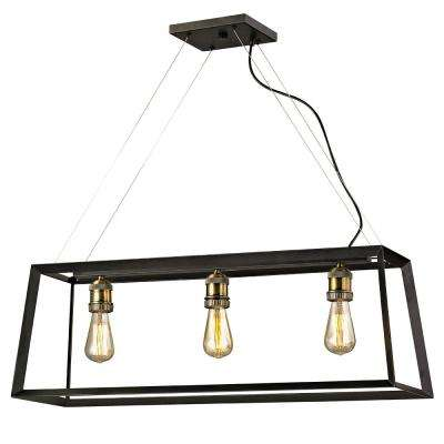 Austin 3-Light Black Frame Island Pendant with Antique Brass Sockets
